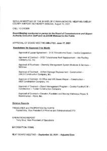 August 2021 Board Meeting Agenda